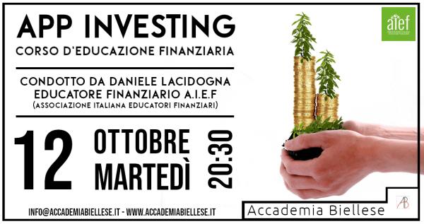 Corso App Investing Educazione Finanziaria - Accademina Biellese 2021